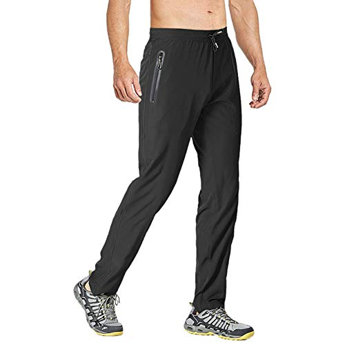 Wohthops Men's Running Pants Loose Workout Active Trousers with Drawstring Elastic Waistband Black, 34