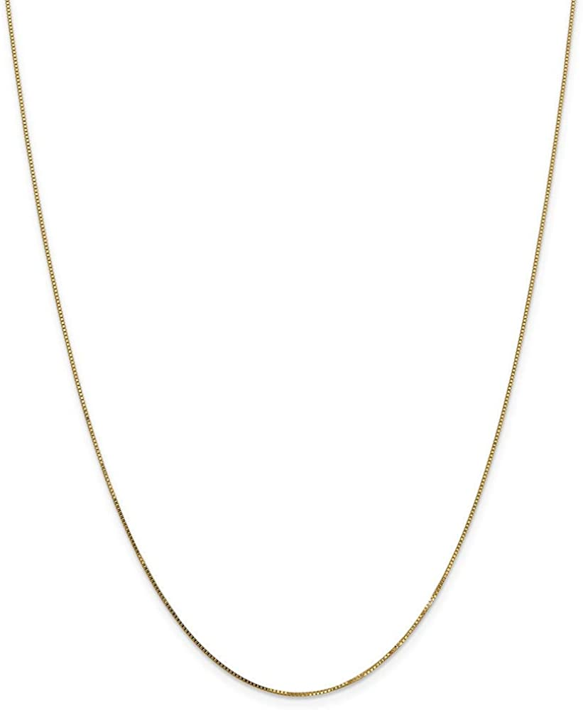 14k Yellow Gold .7mm Link Box Spband Ring Band Clasp Chain Necklace 22 Inch Pendant Charm Fine Jewelry For Women Gifts For Her