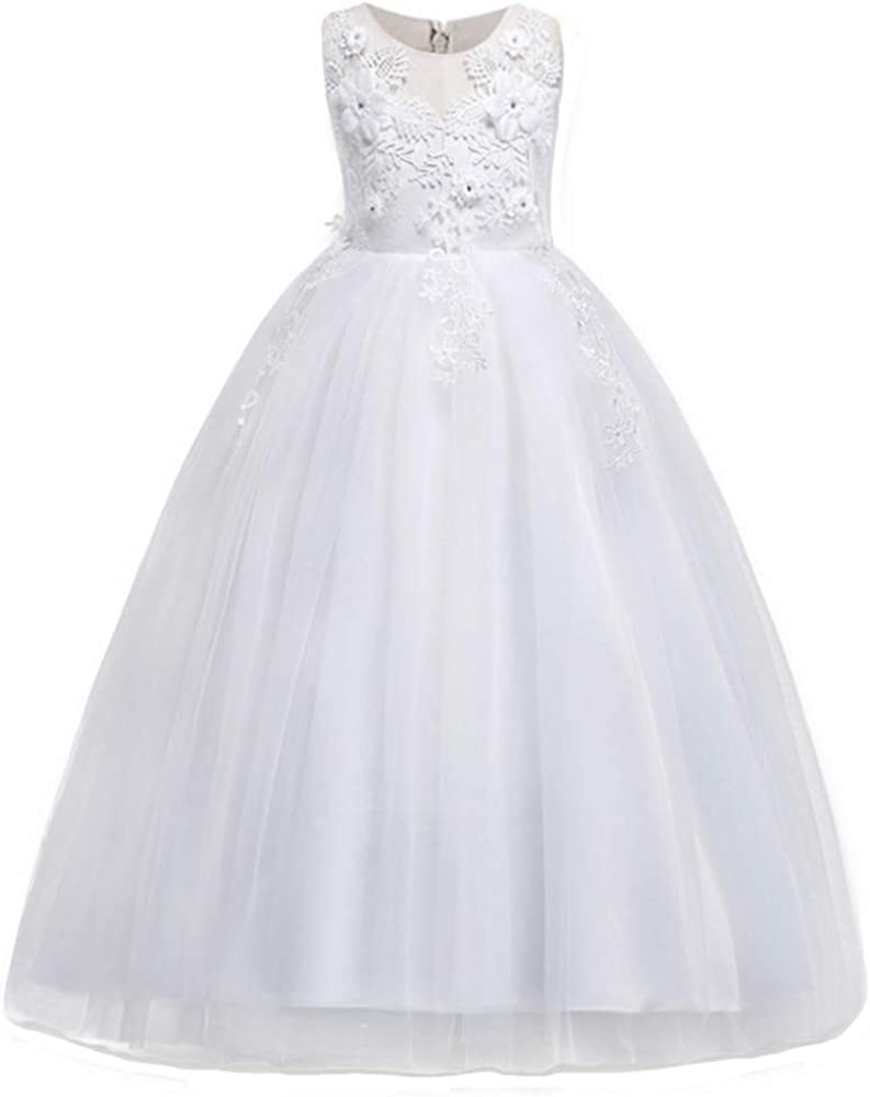 Sales for sale HUAANIUE Girl Embroidery Pageant Party Gown Ball Max 88% OFF Dress Kids Prom