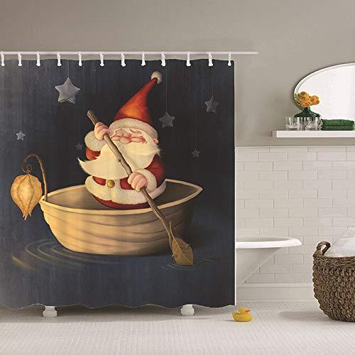 DER Impermeable la Serie de Navidad de poliéster Personalizada Ducha Cortina Impermeable Impresa Cortina de baño Hotel de baño (Color : C, Size : 180 * 180CM)