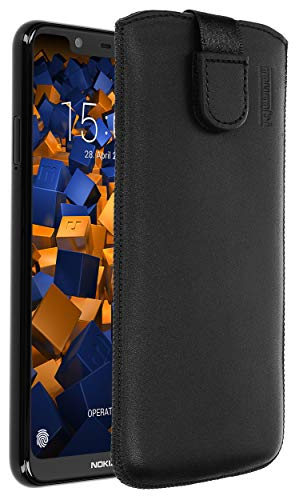 mumbi Echt Ledertasche kompatibel mit Nokia 5.1 Plus Hülle Leder Tasche Hülle Wallet, schwarz