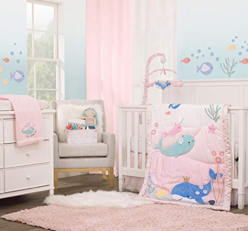 NoJo Under The Sea Whimsy Pink & Blue Whales & Narwhals 4Piece Crib Bedding Set - Comforter, Fitted Crib Sheet, Dust Ruffle & Storage Bin, Pink, Light Blue, Light Green, Light Yellow, 6340514P
