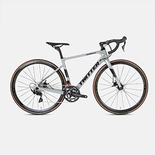 Yinhai Rennrad 700C Carbonrahmen, Shimano 105 / R7000 22-Gang-Umwerfersystem Ultraleichtes Straßenrennen,Gray 51cm