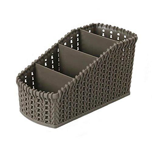raspbery Desktop Organizer Multifunktionaler Ablagekorb Kunststoff Nachahmung Rattan Aufbewahrungsbox für Make Up Kleinigkeiten Buch Fernsteuerpult Etc