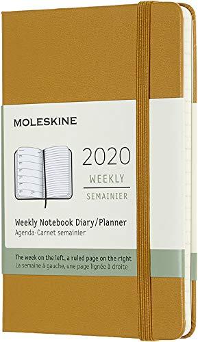 Moleskine - Agenda Semanal de 12 Meses 2020, Tapa Dura y Goma Elástica, Tamaño Pequeño 9 x 14 cm, 144 Páginas, Amarillo Ocre