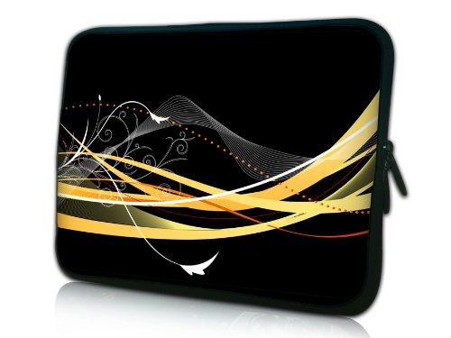 wortek Universal Notebook Tasche aus Neopren für Notebooks bis ca. 17,3 Zoll - Welle Abstrakt Schwarz Gelb