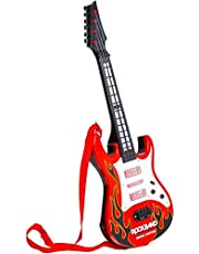 MWT TOYZ Rockband Music Guitar for Kids with Lights and Sound (Red)