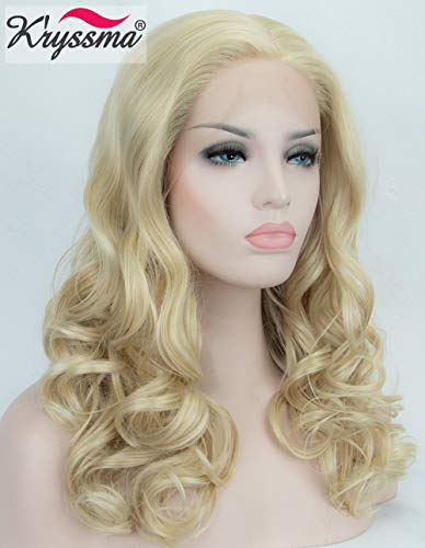 K'ryssma Lace Front Wigs - Fashionable Short Bob Cut Soft Wavy Blonde Wig Medium Length Heat Resistant Glueless Synthetic Wigs for Women 16 Inches + 2 Pcs Free Wig Caps