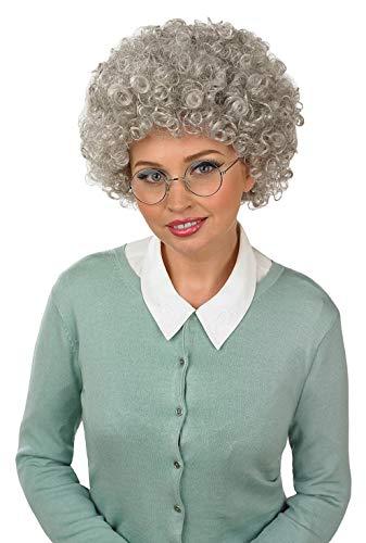 Fun Shack Graue Oma Perücke für Damen, alte Frau Kostüm - Einheitsgröße