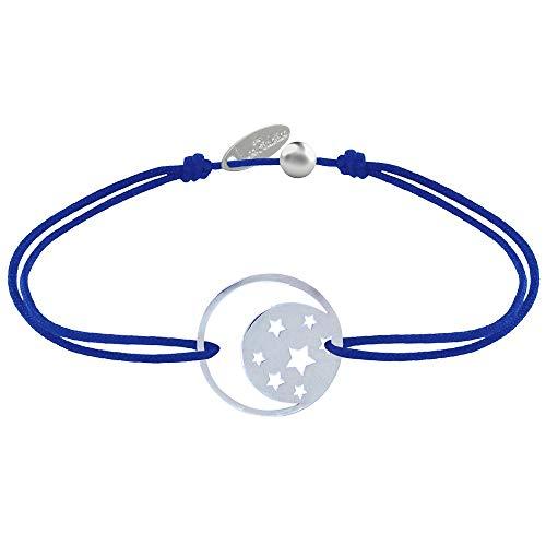 Gioello Les Poulettes - Bracciale Collegamento Medaglia Argento Luna e Stelle - Blu Navy