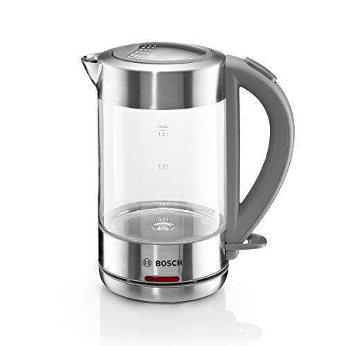 Bosch TWK7090B kabelloser Wasserkocher, Abschaltautomatik, Überhitzungsschutz, einfache Bedienung, hitzebeständiges Glas, 1,5 L, 2200 W, Edelstahl