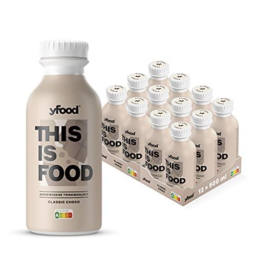 yfood Schokolade | Leckere Trinkmahlzeit für unterwegs | THIS IS FOOD Drink | 34g Protein, 26 Vitamine und Mineralstoffe (12 x 500ml)