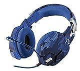 Trust Gaming GXT 322B Carus Cuffie da Gioco, con Microfono Flessibile, Controllo del Volume ed Esclusione Audio del Microfono su Esterno del Padiglione, Blu