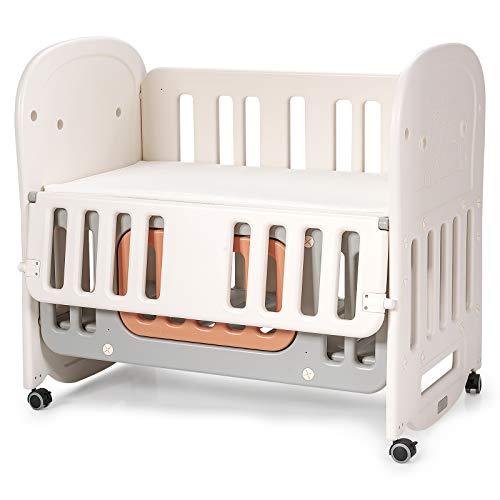 BABY JOY 6 in 1 Convertible Crib with Mattress Included, Rocking Bassinet Baby Bed with Detachable & Lockable Wheels, Storage Space, Converts to Bedside Bassinet, Baby Playard, Toddler Bed (6-in-1)
