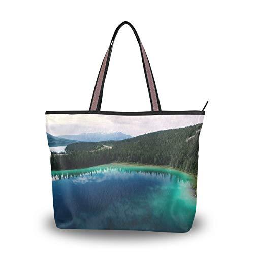XiangHeFu Damenhandtaschen Amazing Lake Scenery Silent Landscape Schultertasche aus Polyestergewebe