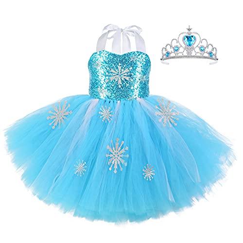 Tacobear Disfraz de Princesa Tutú Vestido Disfraz de Frozen Elsa Niña con Corona Bebé Vestido de Cosplay de Carnaval, Halloween y la Fiesta de Cumpleaños (2XL (9-10 años))