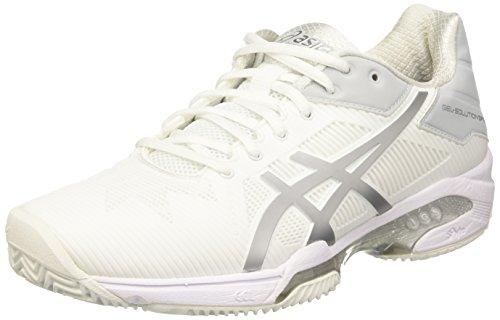Asics ASICS Damen Gel-Solution Speed 3 Clay Tennisschuhe, Elfenbein (White/Silver), 39 EU