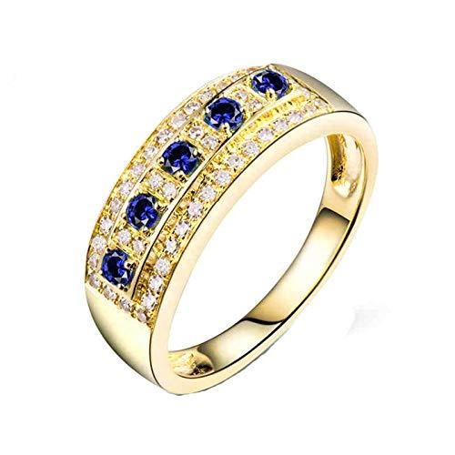 AnazoZ Anillos de Mujer De Zafiros,Anillos de Oro Amarillo 18K Mujer Oro Azul Redondo Zafiro Azul 0.15ct Diamante 0.21ct Talla 13,5
