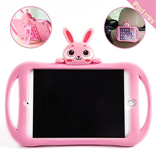 iPad Mini 2/3/4/5 Case, Bole Cat Case for Kids Handle Silicone Cute Cartoon Rabbit Design Shockproof Waterproof with Holder for Children Pink