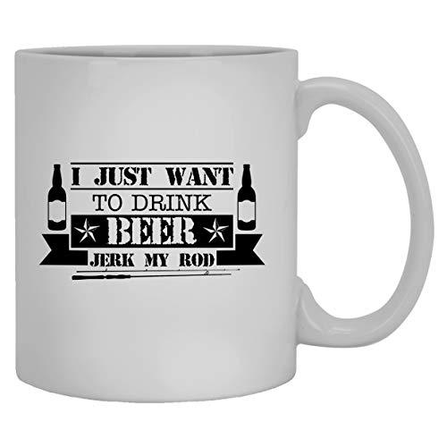 N\A Bier weiße Tassen - Trinken Sie Bier und wichsen Sie Meine Stange Keramikkaffeetasse