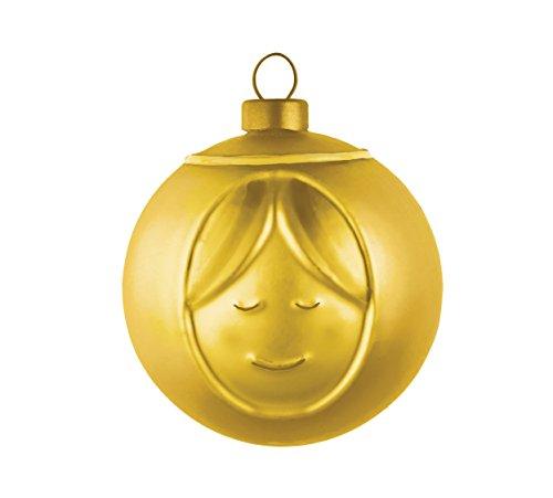 Alessi Amj13 2 Gd Madonna Boule de Noël en Verre Soufflé, Colorée or, decorée à la Main, Set de 4 Pièces