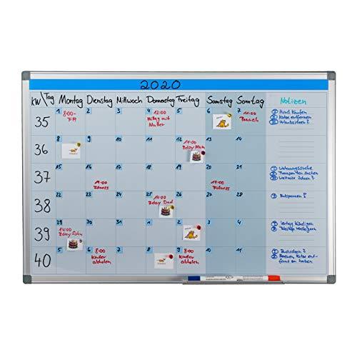 Relaxdays Whiteboard, Wochenplaner, abwischbar, magnetisch, Planungstafel mit Stiftablage, Magnetwand 60 x 90 cm, weiß, 1 Stück