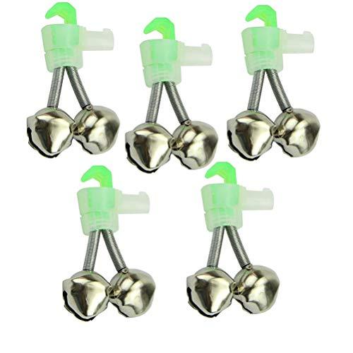 VORCOOL 5 Stück Twin Bells Angelrute Alarmglocken Clip Tackle Nacht Meer Angelrute Angeln Glocken Dual Bells Rod Clamp TIPP Clip Twin Alarm Bells