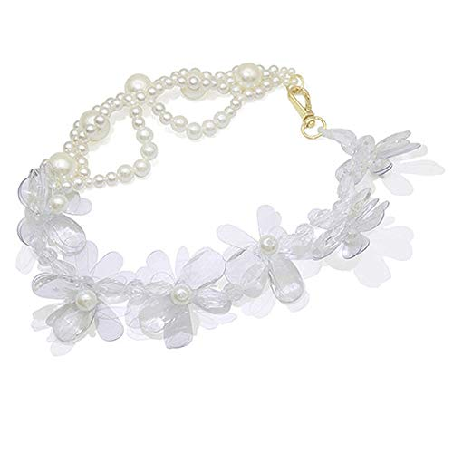 Collar Joyas Cuello Femenino Collar Colgante Flor Transparente Exagerada Collar De Perlas Collar De ClavíCula De Temperamento Femenino De Moda para Novia Esposa CumpleañOs Presen
