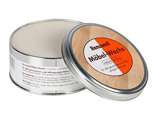 Renuwell Möbel-Wachs, 1 Dose mit 500 Gramm, für alle gewachsten und offenporigen Holzarten Farbe: natura-farblos