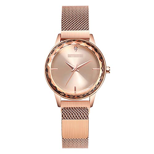 BBZZ Moda Mujeres Rose Gold Watch Japan Cuarzo Acero Inoxidable Magnético Malla Magnética Relojes de Mujer Impermeable,Oro