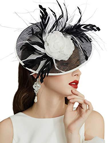 Coucoland Damen Fascinators Hut Elegant Feder Blumen Fascinator Haarreif für Hochzeit Cocktail Englische Tee Party Pferderennen Haar Accessoires Damen Fasching Kostüm Zubehör (Stil 3)