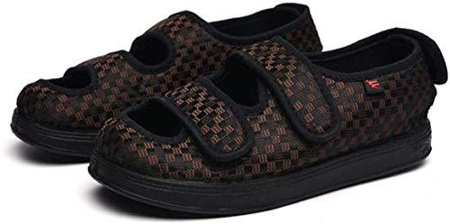 B/H Zapatos ortopédicos Ajustables,Zapatos de Tela con Velcro Que se ensanchan, pies gordos, pies Anchos hinchados, Zapatos-Coffee_35