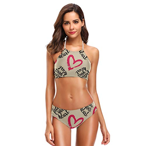 DXG1 Damen Bikini mit Schriftzug Herz inspirierendes Zitat Süß Bikini Sets Strand Bademode Badeanzug gepolstert Gr. XL, Farbe-1