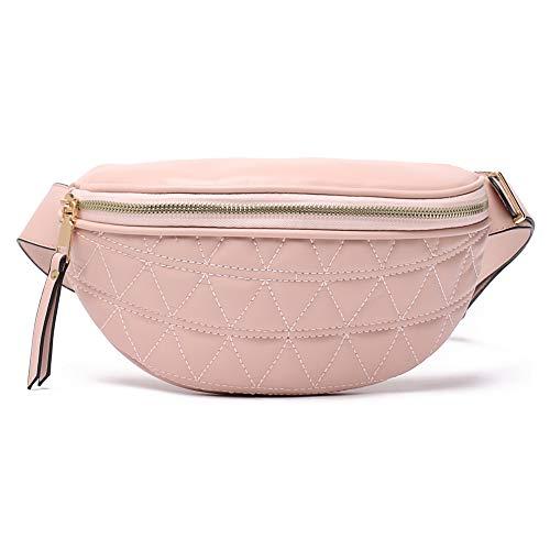 Geagodelia FB18061 - Riñonera para mujer y niña, moderna bolsa de cintura de poliuretano, con correa ajustable para viajes, senderismo, exterior, festival, Rosa 02. (Rosa) - FB18061
