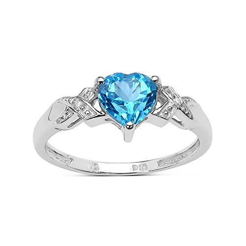 9ct White Gold 1.00Ct Heart Blue Topaz Heart & Diamond Engagement Ring Christmas Day, Valentine's Day Mother's Day (Size Q)