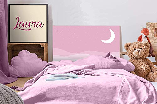 Cabecero Cama PVC Infantil Noche Rosa 100x60cm | Disponible en Varias Medidas | Cabecero Ligero, Elegante, Resistente y Económico