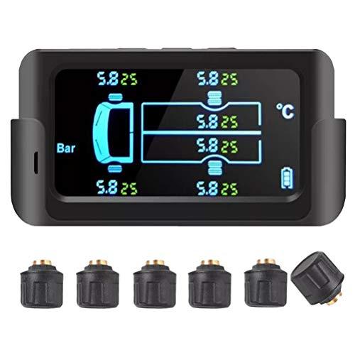 Wakauto 8. 5Bar Solar-Reifendrucküberwachungssystem Drahtloser Reifendrucksensor mit Bildschirmanzeige für 6-Reifen-Lieferwagen 122Psi (Schwarz)