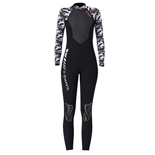 MOTOCO Damen Ganzkörperansicht Badeanzug Overall Wetsuit Surfanzug Lange Ärmel Tauchanzug - Strand Watersport UV Schutz Schwimmanzug (S,Weiß)