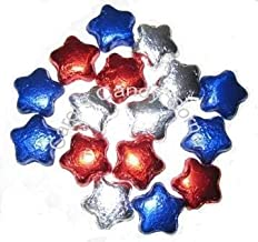 Patriotic Stars Solid Milk Chocolate Red, White, Blue Chocolate Stars - (1/2 Lb - Approx 22 Pcs)