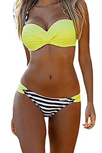 EVALESS Women's Push Up Spaghetti Strap Padded Slimming Swimsuit Sporty Swimwear Yellow Stripes Small 4 6