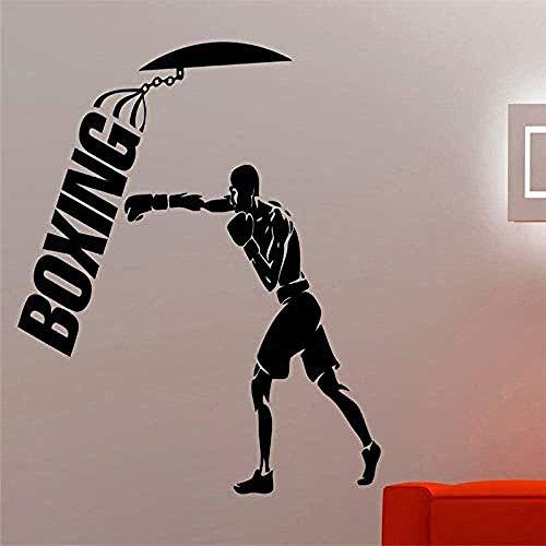 Pegatinas de Pared,Entrenamiento de boxeo para habitación de niños Interior deportes lucha pared calcomanía gimnasio Fitness decoración BoXLogo Art 57x62cm