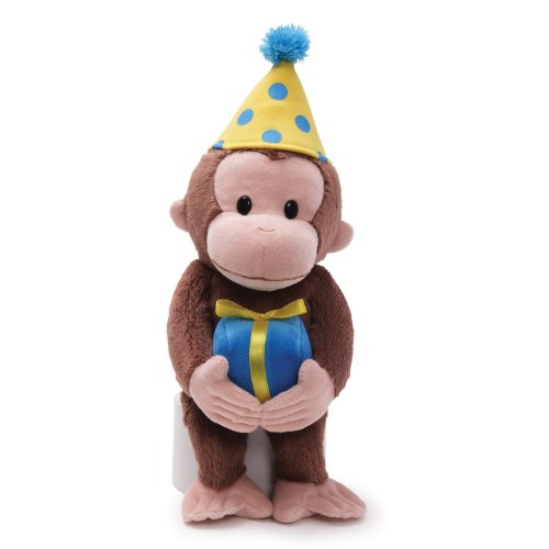 GUND Curious George Birthday Monkey Stuffed Animal Plush, 14""