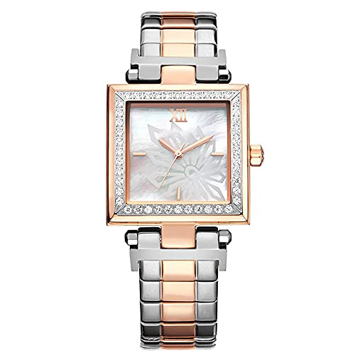 Relojes De Pulsera para Mujeres Reloj Cuadrado De Acero Sólido A Prueba De Agua con Diamantes Cinturón De Acero Sólido Espejo De Cristal Reforzado con Minerales Reloj De Mujer