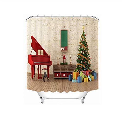 WIXIJAWR 3D Weihnachten Duschvorhänge Klavier Und Kerzenhalter Baum Muster Wasserdicht Verdickt Bad Vorhänge Für Bad 220X220Cm