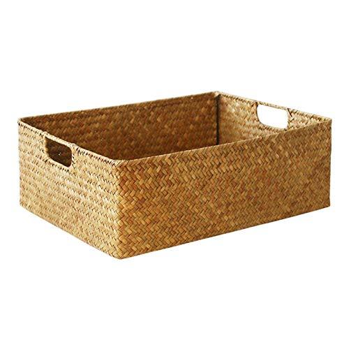 Cesta de almacenamiento de mimbre hecha a mano de estilo nórdico, cesta de almacenamiento de algas marinas tejida de bambú para sala de estar o escritorio (tamaño: S)