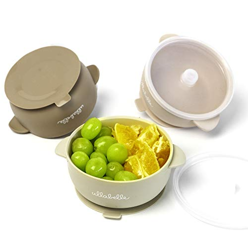 Ullabelle Silicone Baby Bowls with Lids | Toddler Food Storage Bowls (Beige, 3 Bowls)