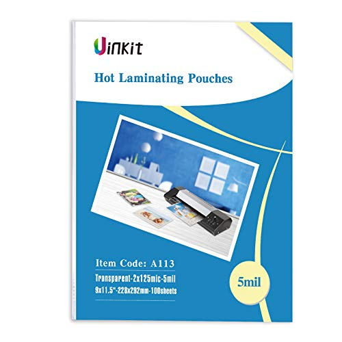 Hot Thermal Laminating Pouches 5Mil - 9x11.5 Inches for Sealed 8.5x11 Photo - 100 Sheets 9x11.5 inches Pack, Uinkit 24 Hours Service, 3 Years Warranty