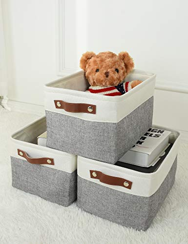Mecids Storage Bins - Collapsible Fabric Storage Baskets - Organizers and Storage for Closet Shelves Toy Office Nursery – Large Medium Small Sizes – 1- Or 3-Piece Packs