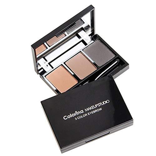 Poudre à sourcils durable avec 3 couleurs, Palette de poudre à sourcils noire et brune Palette de sourcils imperméable Smudge-proof