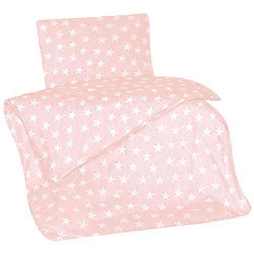 Aminata Kids Biber Bettwäsche 100x135 cm + 40 x 60 cm Sterne aus Baumwolle mit Reißverschluss, unsere Kinderbettwäsche mit Stern-Motiv ist weich und kuschelig
